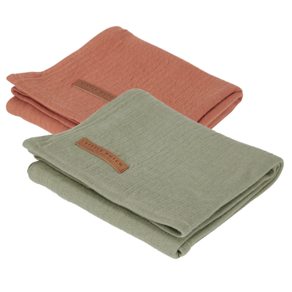 Hydrofiele doeken Little Dutch | 2-Pack | pure olive/rust | 70x70